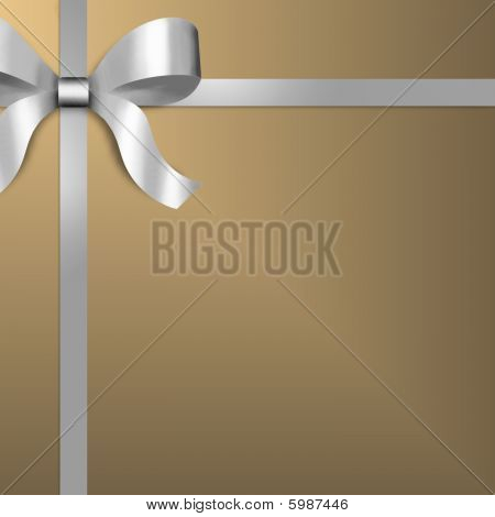 Gift Wrap In Gold With Silver Ribbon