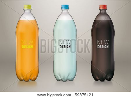 1,5 L transparent plastic bottle for new design. Sketch style