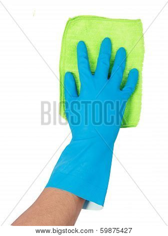Hand With Glove Using Cleaning Mop To Clean Up
