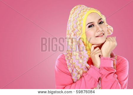 Young Beautiful Muslim Woman With Pink Costume Wearing Hijab