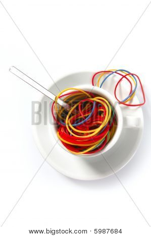 Colorful Rubber Bands In Breakfast Cup