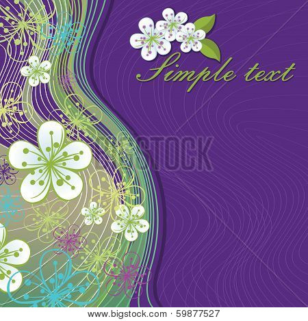 Spring Flowers And Wavy Lines Background