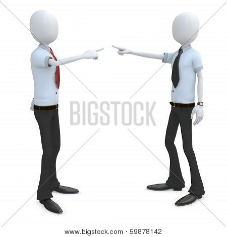 3D Man Businessman Accusing And Pointing Finger