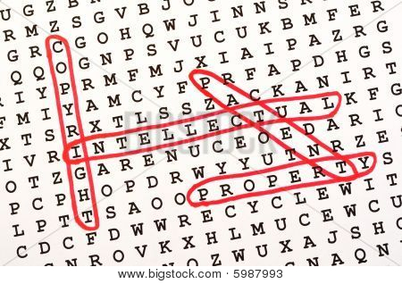 The Words Copyright, Intellectual, Property, & Patent On Word Search Puzzle