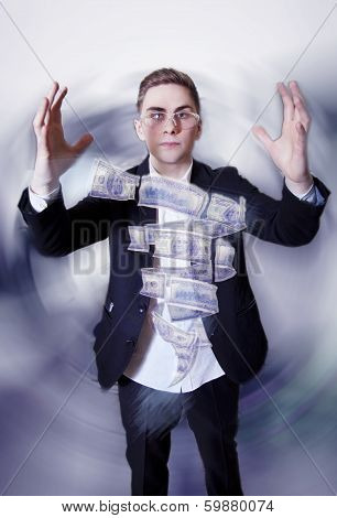 Young Businessman With Money Tornado.