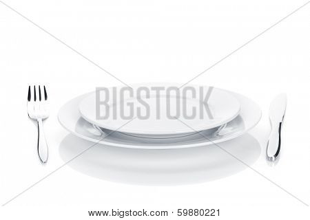 Silverware or flatware set of fork, knife and plates. Isolated on white background