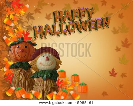 Happy Halloween Border Pumpkin Scarecrow 3D text