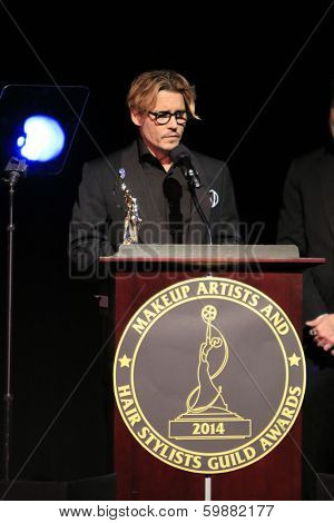 LOS ANGELES - FEB 15:  Johnny Depp  at the at the Annual Make-Up Artists And Hair Stylists Guild Awards at Paramount Theater on February 15, 2014 in Los Angeles, CA