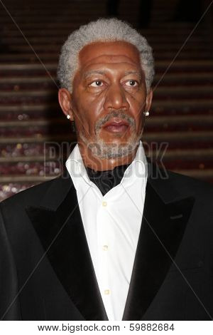 LOS ANGELES - FEB 13:  Morgan Freeman Wax Figure at the Sandra Bullock Wax Figure Unveiling by Madame Toussauds Hollywood at Awards Walk, Hollywood & Highland on February 13, 2014 in Los Angeles, CA