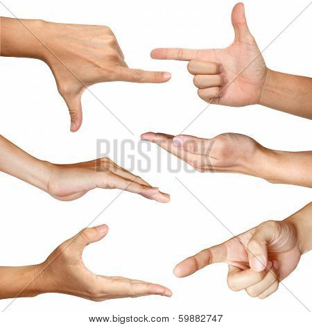 six hands action isolated with clipping path