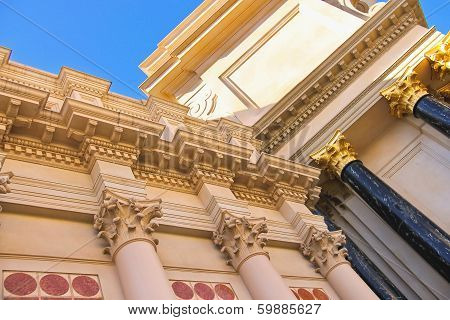 Stately Columns Adorn The Caesar's Palace In Las Vegas