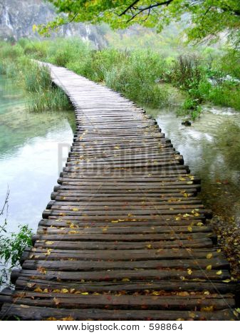 Wood Walkway Above The Misty Water With Autumn Leaves