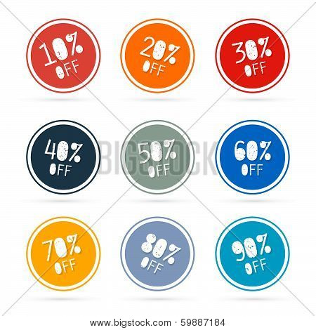 Colorful Vector Discount Stickers, Labels Isolated on White Background
