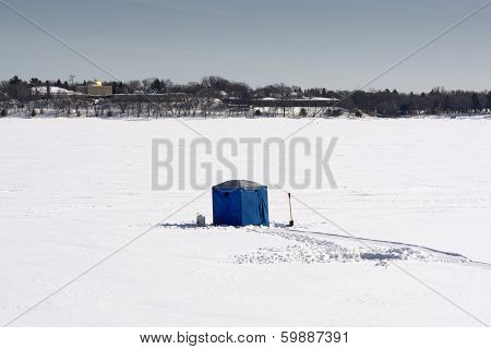 Ice fishing hut on lake Calhoun, Minneapolis, Minnesota, USA