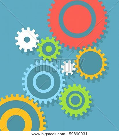 Abstract speech clouds of gear wheels with media icons. Template for a text