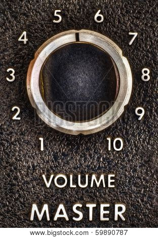 Close Up Of A Vintage Music Amplifier Volume Knob