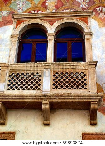 Detail Of The Facade Of The Old Building Decorated In Trento In Italy