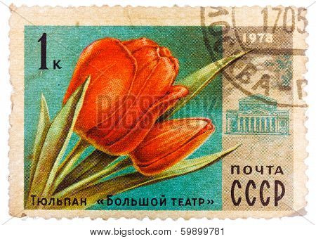 Post Stamp Printed In Ussr (cccp, Soviet Union) Shows Image Of Tulip Flower And Bolshoi Theater From