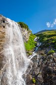 Beautiful Waterfall In European Mountains