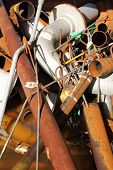 foto of ferrous metal  - A collection of Scrap metal ready for recycling