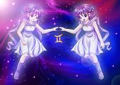 stock photo of gemini  - Manga style illustration of zodiac sign on cosmic background - JPG