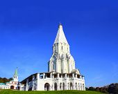 image of ascension  - Ascension Church in Kolomenskoye park in Moscow on blue sky background - JPG