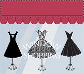 stock photo of little black dress  - Window Shopping Black Dresses Banner with Copyspace - JPG