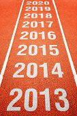 foto of happy new year 2013  - Continous Year Number on athletics running track - JPG
