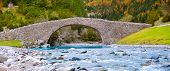 Rio Ara river and bridge San Nicolas de Bujaruelo in Ordesa Aragon Huesca Spain