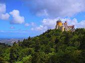 stock photo of yellow castle  - Palacio Nacional de Pena  - JPG