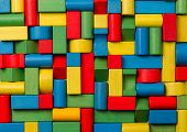 foto of wood pieces  - Toys blocks multicolor wooden bricks group of colorful building game pieces - JPG