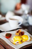 stock photo of benediction  - Delicious breakfast with eggs Benedict - JPG