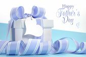 image of special day  - Blue Fathers Day gift with beautiful stripe ribbon and heart shape gift tag and Happy Fathers Day sample text or copy space for your text here - JPG