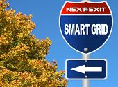 stock photo of smart grid  - Smart grid road sign - JPG