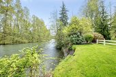 stock photo of auburn  - Green river in Auburn during spring - JPG