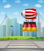 Illustration of a floating balloon with the flag of Germany