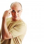 foto of feeling stupid  - Man with funny facial expression isolated  - JPG