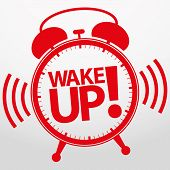 stock photo of analog clock  - Wake up alarm clock icon - JPG