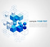 stock photo of cube  - Abstract blue cubes vector background - JPG