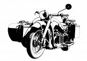 picture of sidecar  - Motorbike sidecar historical transportation illustration art vector - JPG