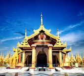 stock photo of yangon  - Shwedagon pagoda entrance in Yangon - JPG