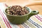 stock photo of cereal bowl  - Tricolor quinoa grain in a ceramics bowl - JPG