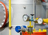 image of barometer  - Close up of barometer in natural gas production industry - JPG