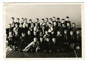 KURSK, USSR - CIRCA 1970:  An antique photo shows group  portrait of school graduates.