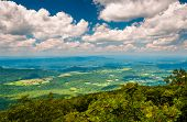 stock photo of appalachian  - View of the Shenandoah Valley from the Appalachian Trail in Shenandoah National Park Virginia.