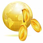 stock photo of bitcoin  - Global Financial Concept with Money Bitcoins and Earth vector icon isolated on white - JPG