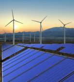 stock photo of turbines  - A high quality stock picture of solar panels and wind turbines - JPG