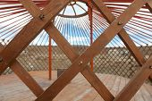 image of yurt  - The construction of the yurt in the steppes of Mongolia - JPG