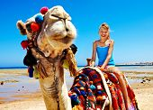 foto of dromedaries  - Tourists children riding camel  on the beach of  Egypt - JPG