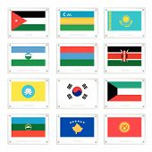 A Collection Of National Flags On Metal Texture Plates